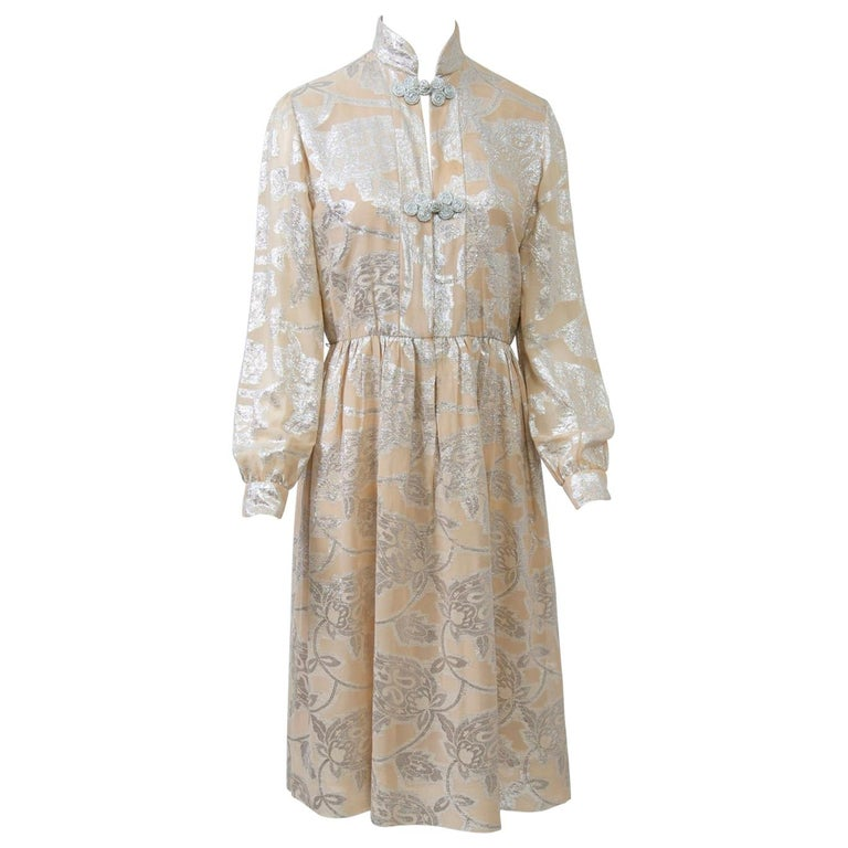 Oscar de la Renta 1970s Sheer Beige/Metallic Dress For Sale