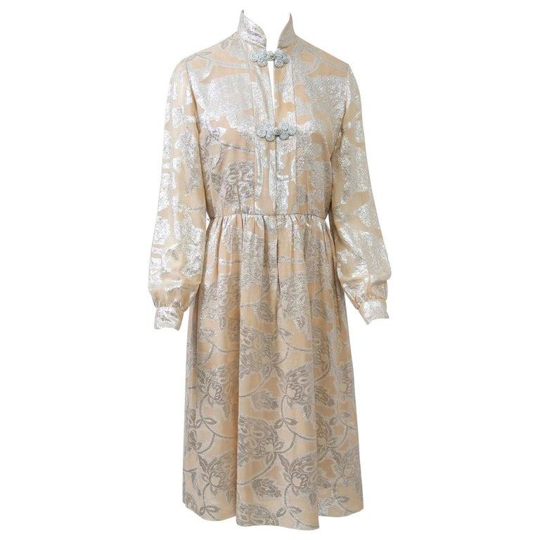 Oscar de la Renta 1970s Sheer Beige/Metallic Dress For Sale