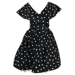 Oscar de la Renta 1980s Black & White Silk Dot Plunge Neck Bubble Dress