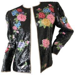 Oscar de la Renta 1980's Sequin Evening Jacket with Needlepoint Flower Pattern