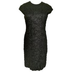 Oscar de la Renta 1980s Textured Linen Day Dress