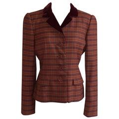 Oscar de la Renta 1990s Rust Orange Plaid Blazer Jacket Burgundy Velvet Collar