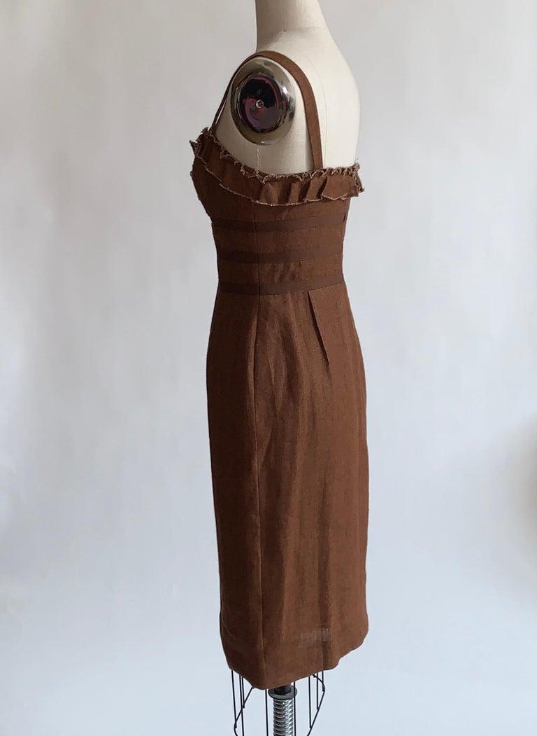 Oscar de la Renta 2007 Runway Look Brown Ruffle Trim Sun Dress In Excellent Condition For Sale In San Francisco, CA