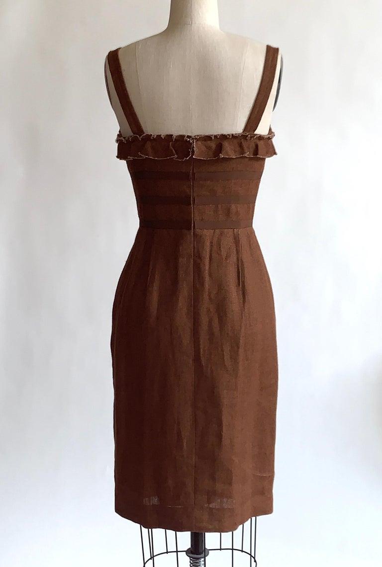 Women's Oscar de la Renta 2007 Runway Look Brown Ruffle Trim Sun Dress For Sale