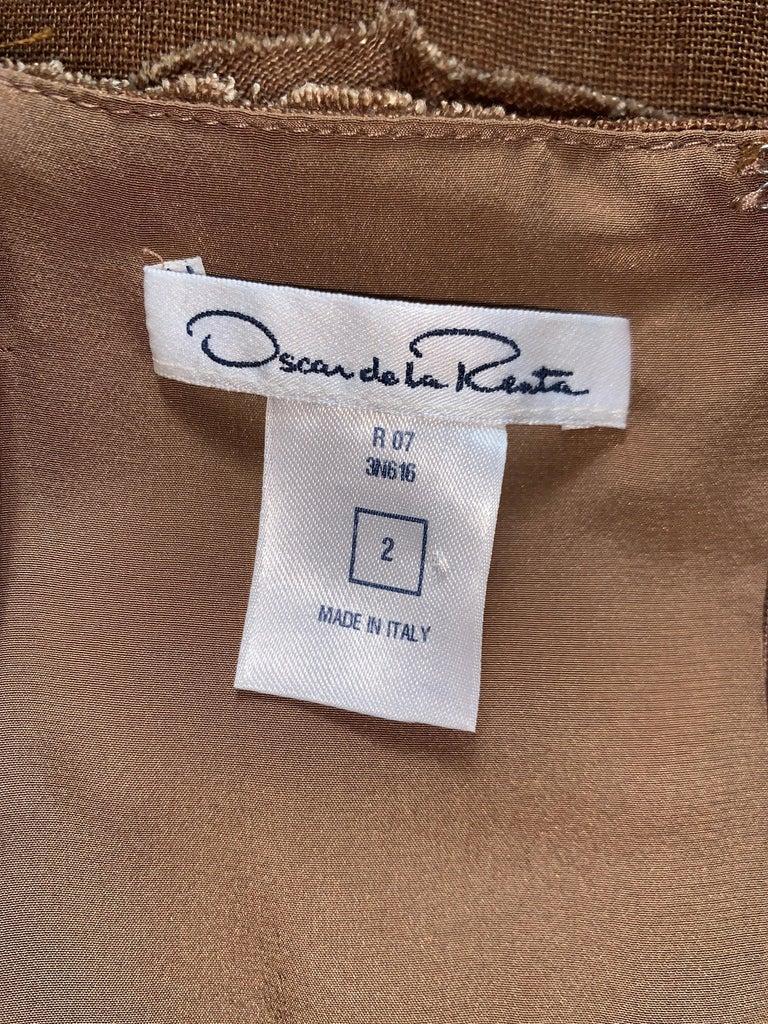 Oscar de la Renta 2007 Runway Look Brown Ruffle Trim Sun Dress For Sale 1