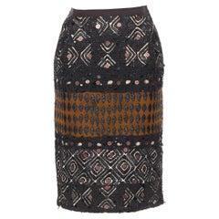 """OSCAR DE LA RENTA 2008 brown raffia sequins embellished jacquard skirt US0 24"""""""