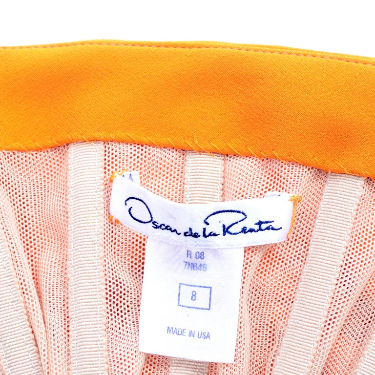 Oscar de la Renta 2008 Orange Silk Jersey Grecian Style Dress W Asymmetric strap 10