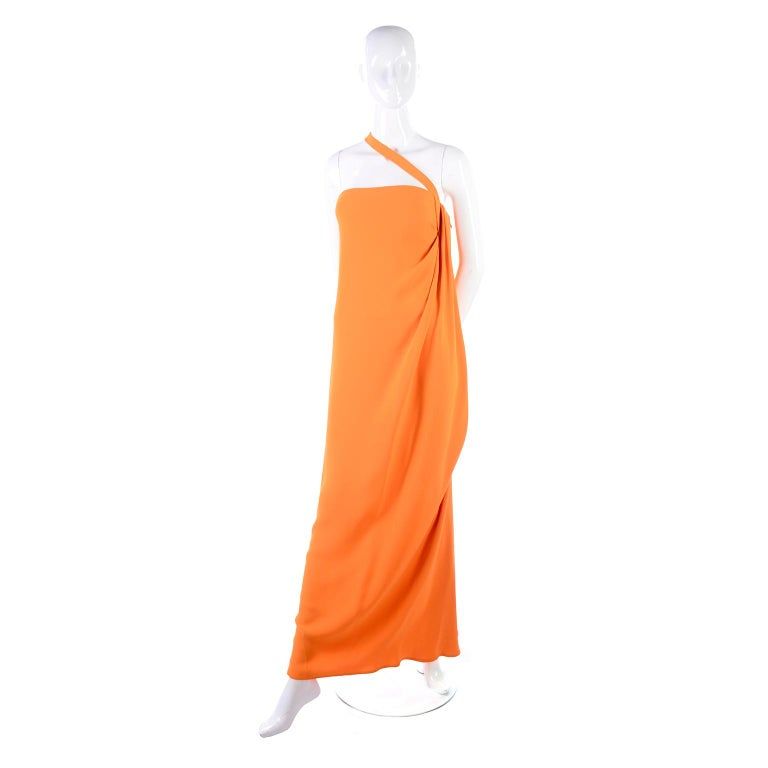 Women's or Men's Oscar de la Renta 2008 Orange Silk Jersey Grecian Style Dress W Asymmetric strap For Sale