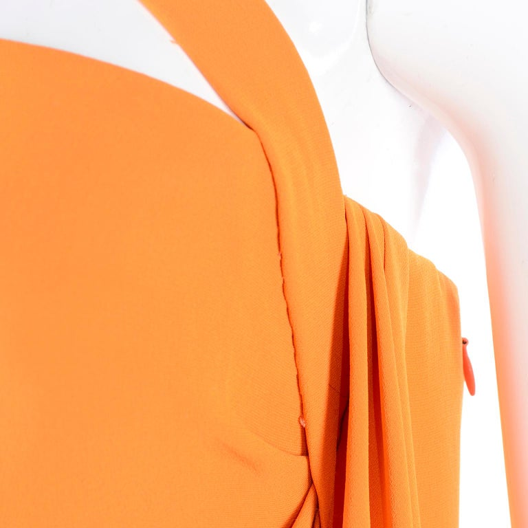 Oscar de la Renta 2008 Orange Silk Jersey Grecian Style Dress W Asymmetric strap For Sale 1