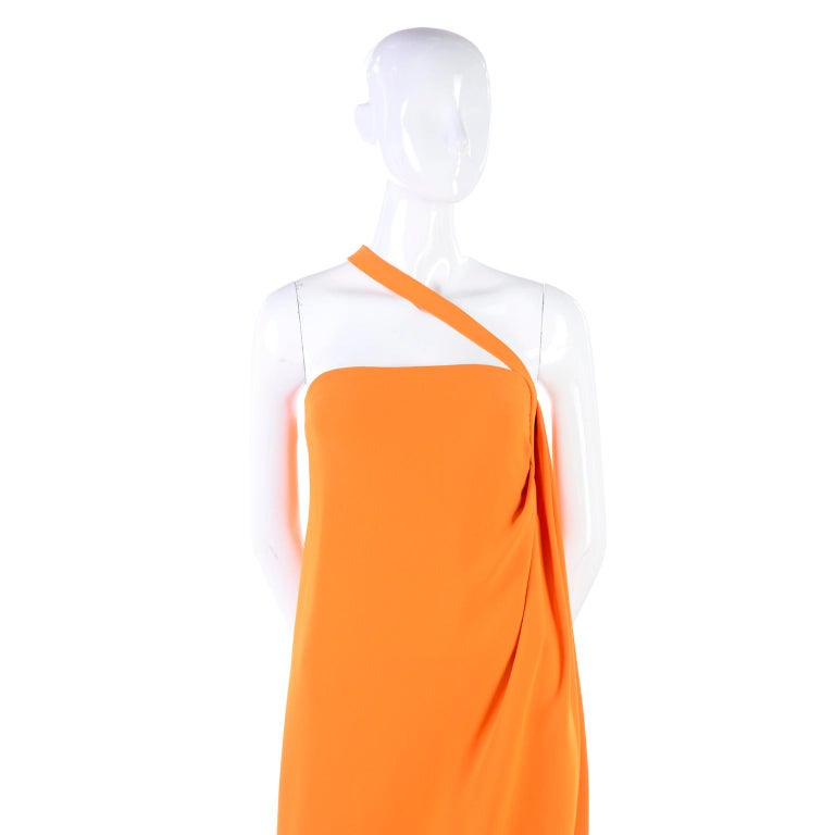 Oscar de la Renta 2008 Orange Silk Jersey Grecian Style Dress W Asymmetric strap For Sale 2