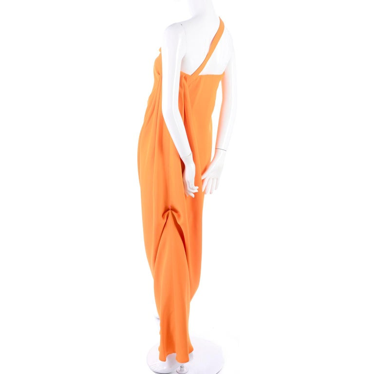 Oscar de la Renta 2008 Orange Silk Jersey Grecian Style Dress W Asymmetric strap For Sale 3