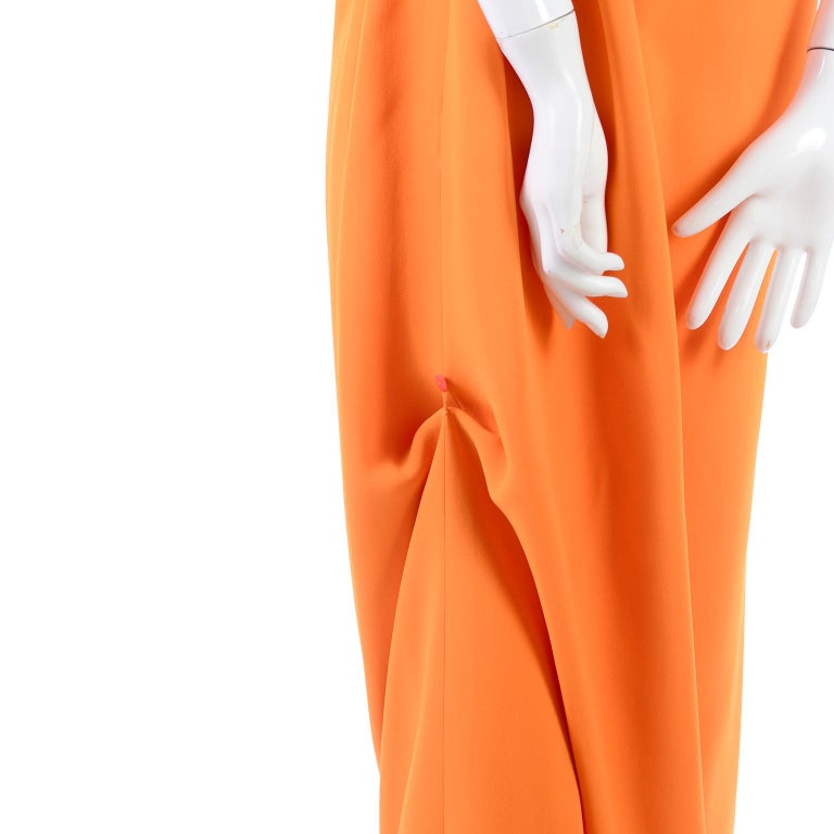 Oscar de la Renta 2008 Orange Silk Jersey Grecian Style Dress W Asymmetric strap 8