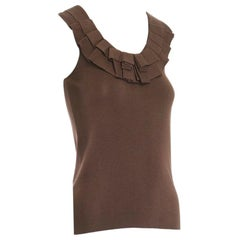 OSCAR DE LA RENTA 2009 silk blend brown ruffle pleated neckline knitted vest XS