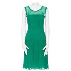 OSCAR DE LA RENTA 2011 kelly green silk pleated sheer yoke cocktail dress US0