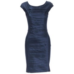 OSCAR DE LA RENTA 2014 navy blue pleated silk reversed seams bodycon dress US0