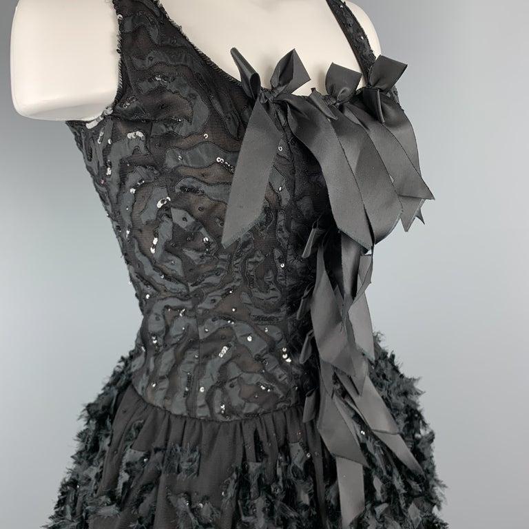 OSCAR DE LA RENTA 6 Black Sequin Mesh Silk Bows Bubble Skirt Cocktail Dress In Good Condition For Sale In San Francisco, CA