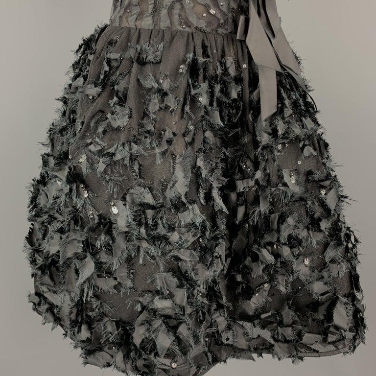 Women's OSCAR DE LA RENTA 6 Black Sequin Mesh Silk Bows Bubble Skirt Cocktail Dress For Sale