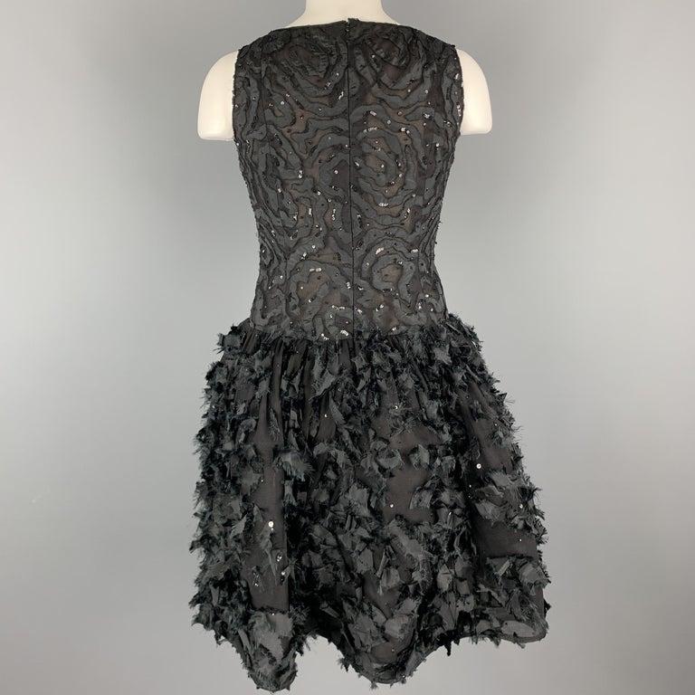 OSCAR DE LA RENTA 6 Black Sequin Mesh Silk Bows Bubble Skirt Cocktail Dress For Sale 1