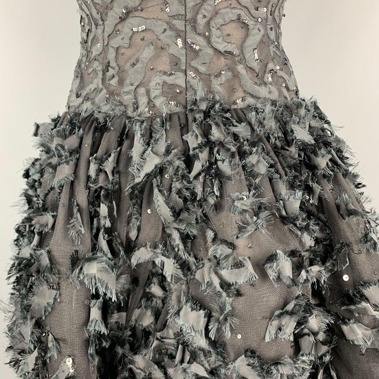 OSCAR DE LA RENTA 6 Black Sequin Mesh Silk Bows Bubble Skirt Cocktail Dress For Sale 2