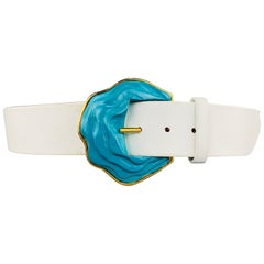 OSCAR DE LA RENTA 8 White Leather Turquoise Enamel & Gold Tone Metal Belt