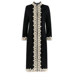 OSCAR de la RENTA A/W 2001 Black Wool Crochet Beaded Sweater Coat Dress