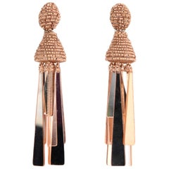 Oscar de la Renta Ambar Beaded/Mirror Tassel Clip On Earrings