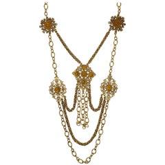Oscar de la Renta Amber Crystal Bib Drop Necklace in Gold, Victorian Style