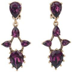 Oscar de La Renta Amethyst Crystal Earrings