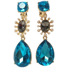 Oscar de la Renta Aqua Diamante and Pearl Drop Earrings