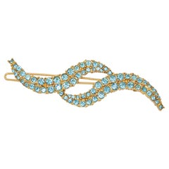 Oscar de la Renta Aquamarine Waves Hair Clip in Gold