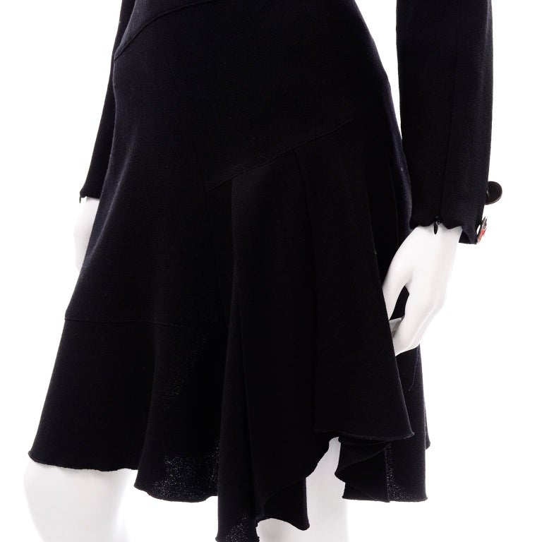 Oscar de la Renta Autumn Winter 2010 Black Wool Asymmetrical Runway Dress For Sale 6