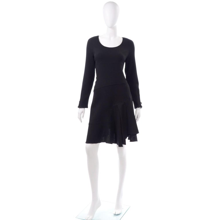 Women's Oscar de la Renta Autumn Winter 2010 Black Wool Asymmetrical Runway Dress For Sale