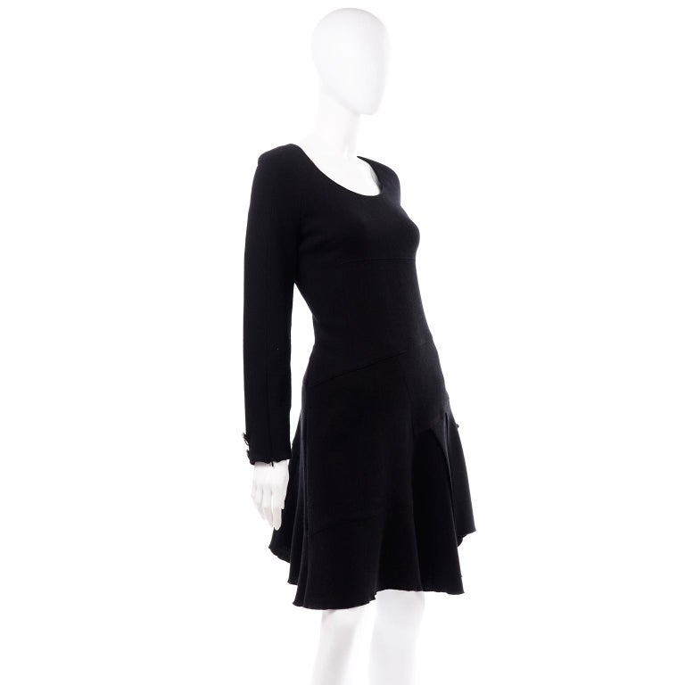 Oscar de la Renta Autumn Winter 2010 Black Wool Asymmetrical Runway Dress For Sale 1
