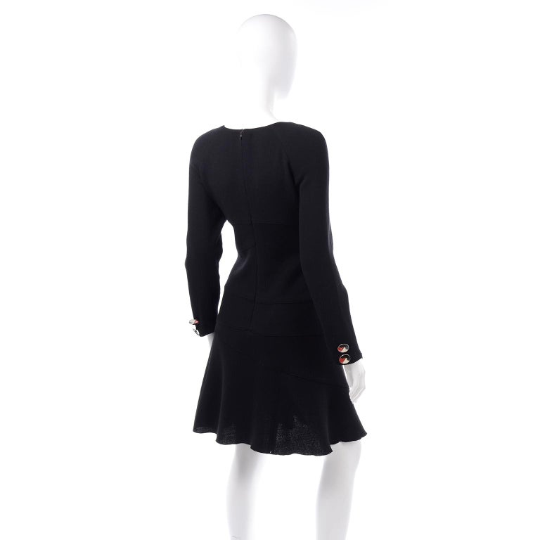 Oscar de la Renta Autumn Winter 2010 Black Wool Asymmetrical Runway Dress For Sale 2