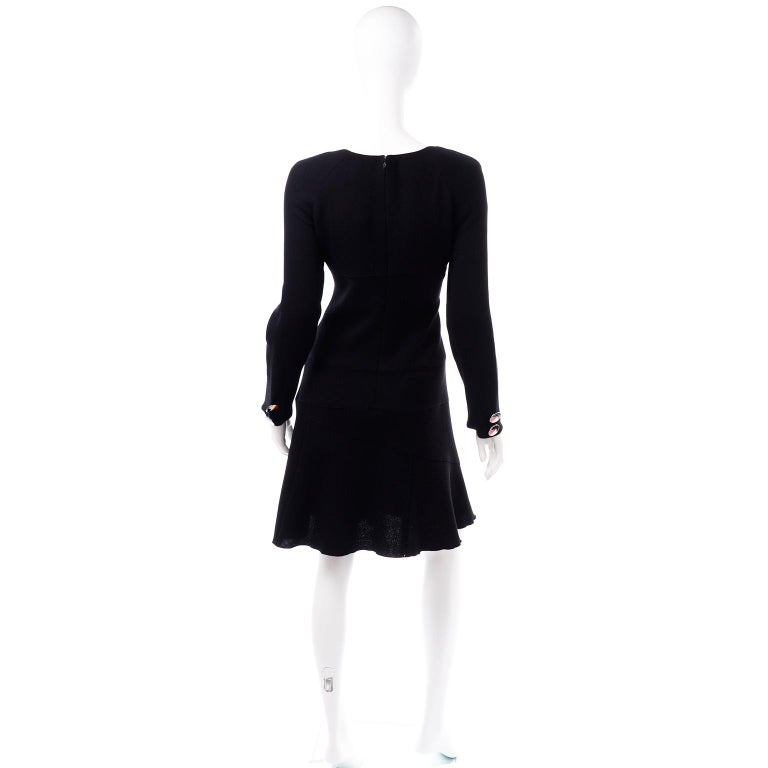 Oscar de la Renta Autumn Winter 2010 Black Wool Asymmetrical Runway Dress For Sale 3