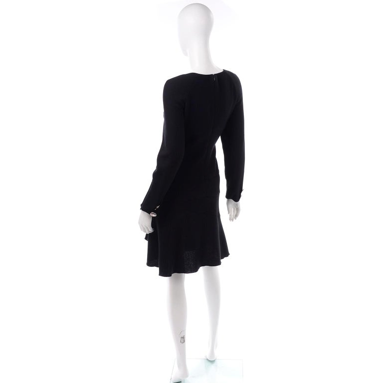 Oscar de la Renta Autumn Winter 2010 Black Wool Asymmetrical Runway Dress For Sale 4