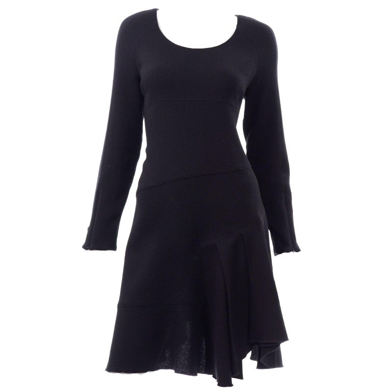 Oscar de la Renta Autumn Winter 2010 Black Wool Asymmetrical Runway Dress For Sale