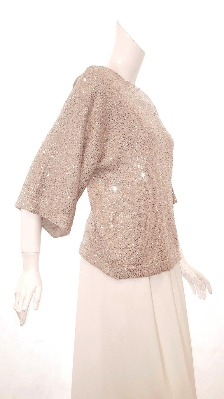 Oscar de la Renta Bateau Neckline 3/4 Sleeve Sequin Sweater In Excellent Condition For Sale In Palm Beach, FL