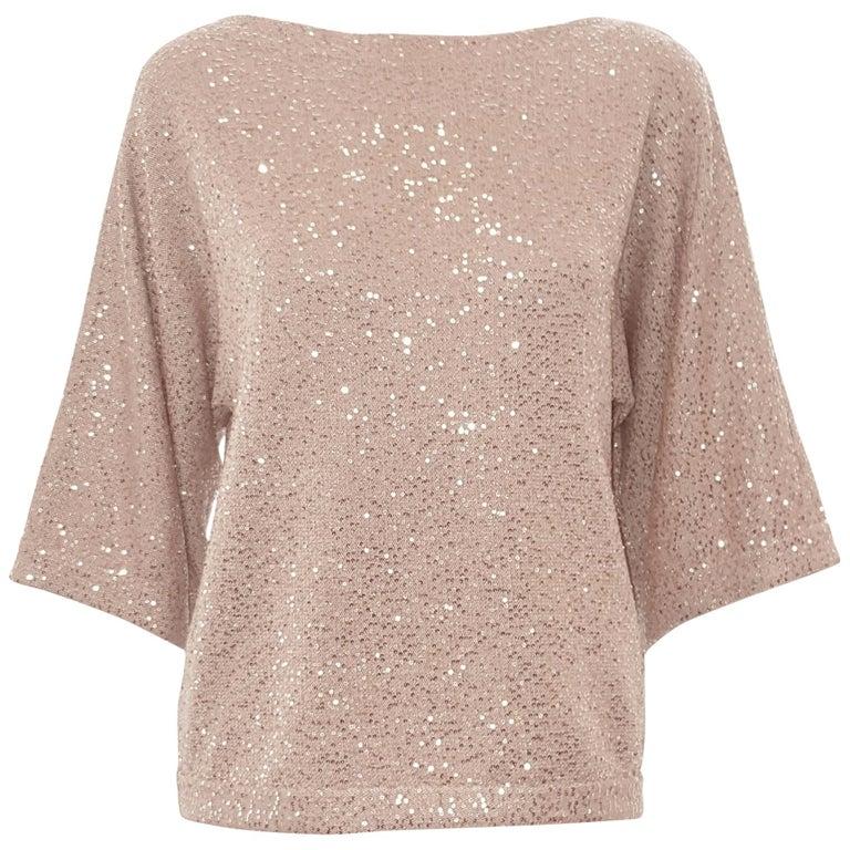 Oscar de la Renta Bateau Neckline 3/4 Sleeve Sequin Sweater For Sale
