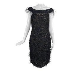 Oscar de la Renta Beaded Black Silk Organza and Feather Cocktail Dress