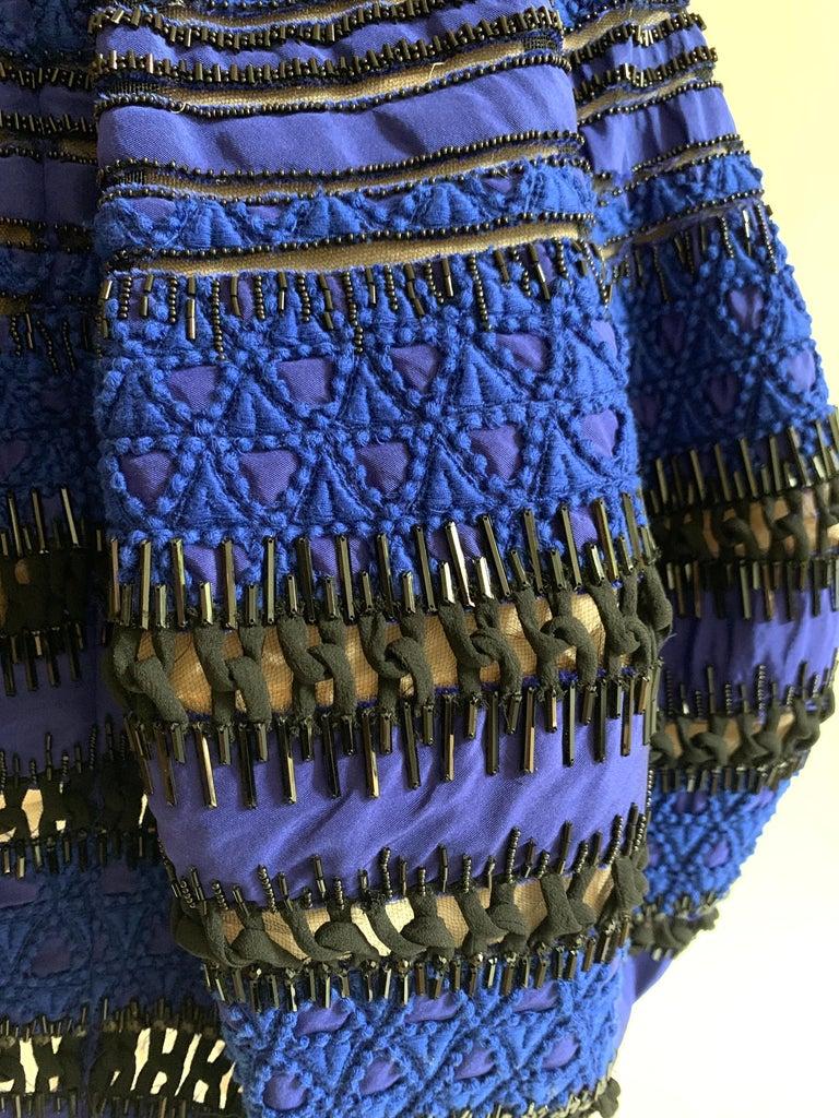 Oscar de la Renta Beaded Blue Silk Bubble Skirt Dress For Sale 5