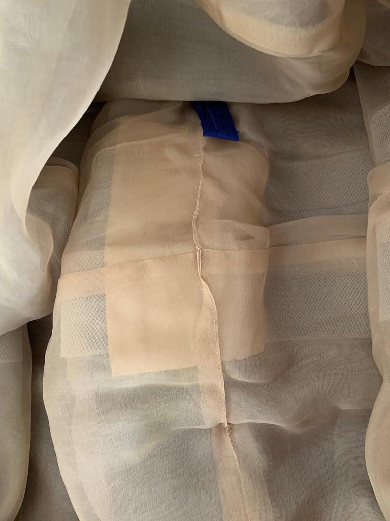 Oscar de la Renta Beaded Blue Silk Bubble Skirt Dress For Sale 6