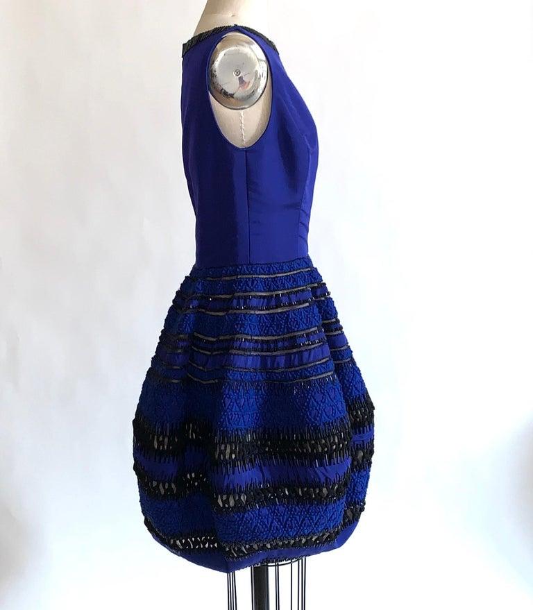 Black Oscar de la Renta Beaded Blue Silk Bubble Skirt Dress For Sale