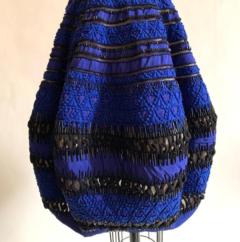 Women's Oscar de la Renta Beaded Blue Silk Bubble Skirt Dress For Sale