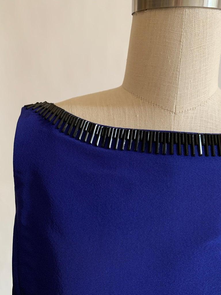 Oscar de la Renta Beaded Blue Silk Bubble Skirt Dress For Sale 1
