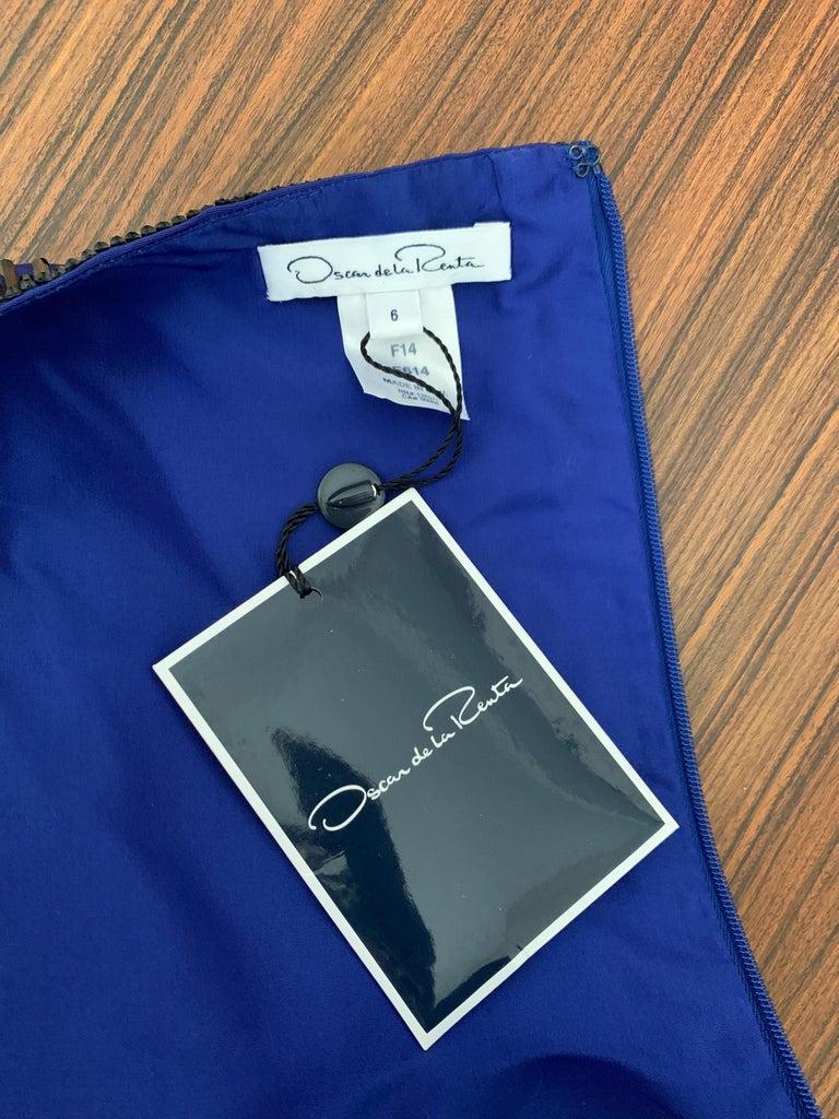 Oscar de la Renta Beaded Blue Silk Bubble Skirt Dress For Sale 2