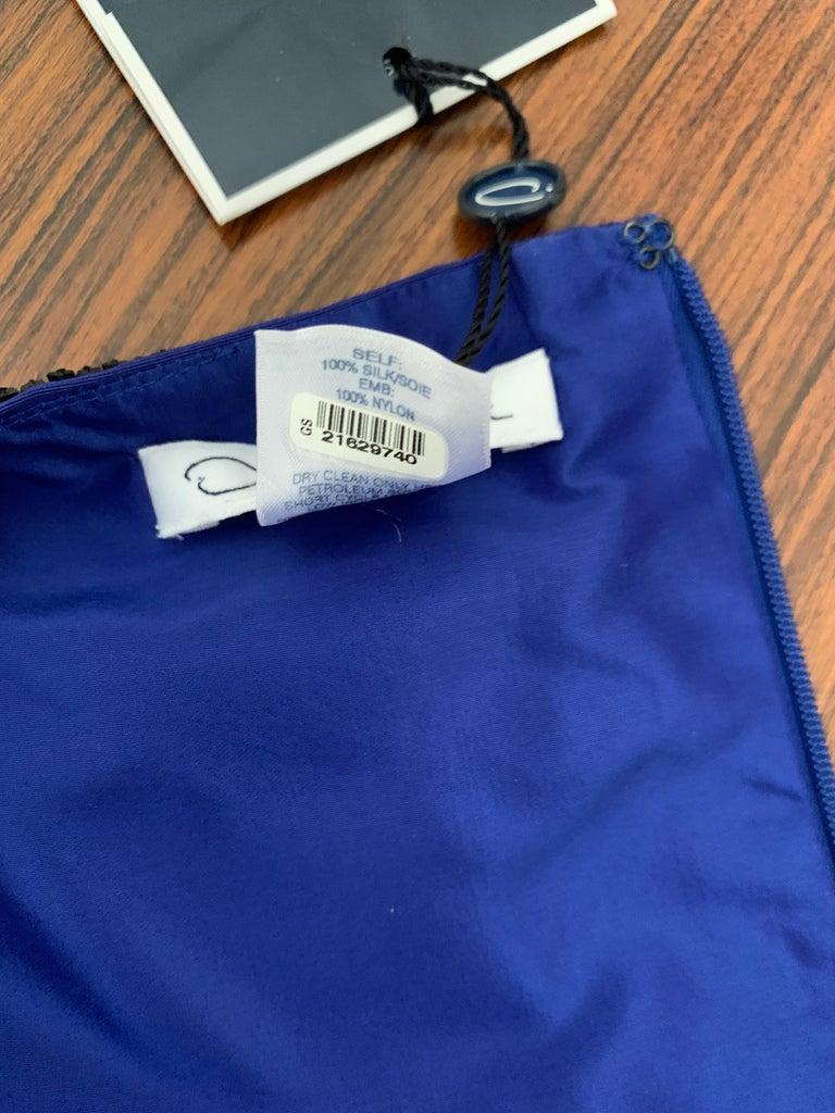 Oscar de la Renta Beaded Blue Silk Bubble Skirt Dress For Sale 3