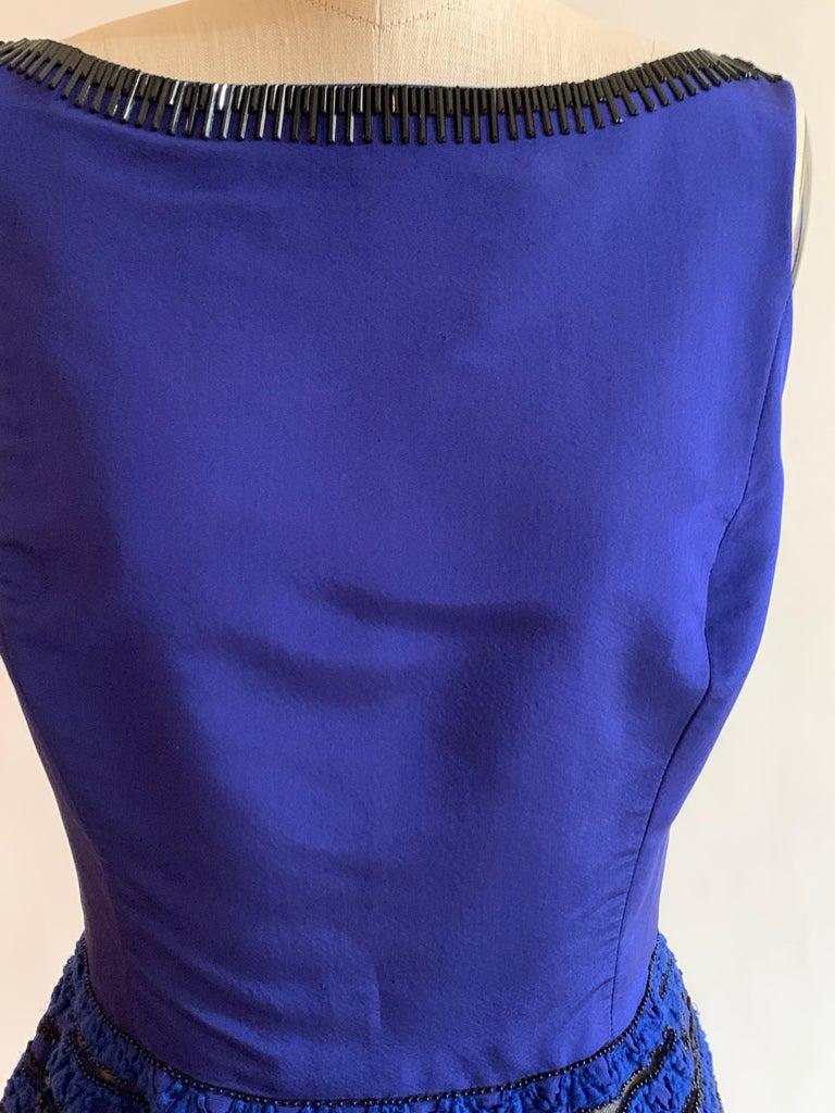 Oscar de la Renta Beaded Blue Silk Bubble Skirt Dress For Sale 4