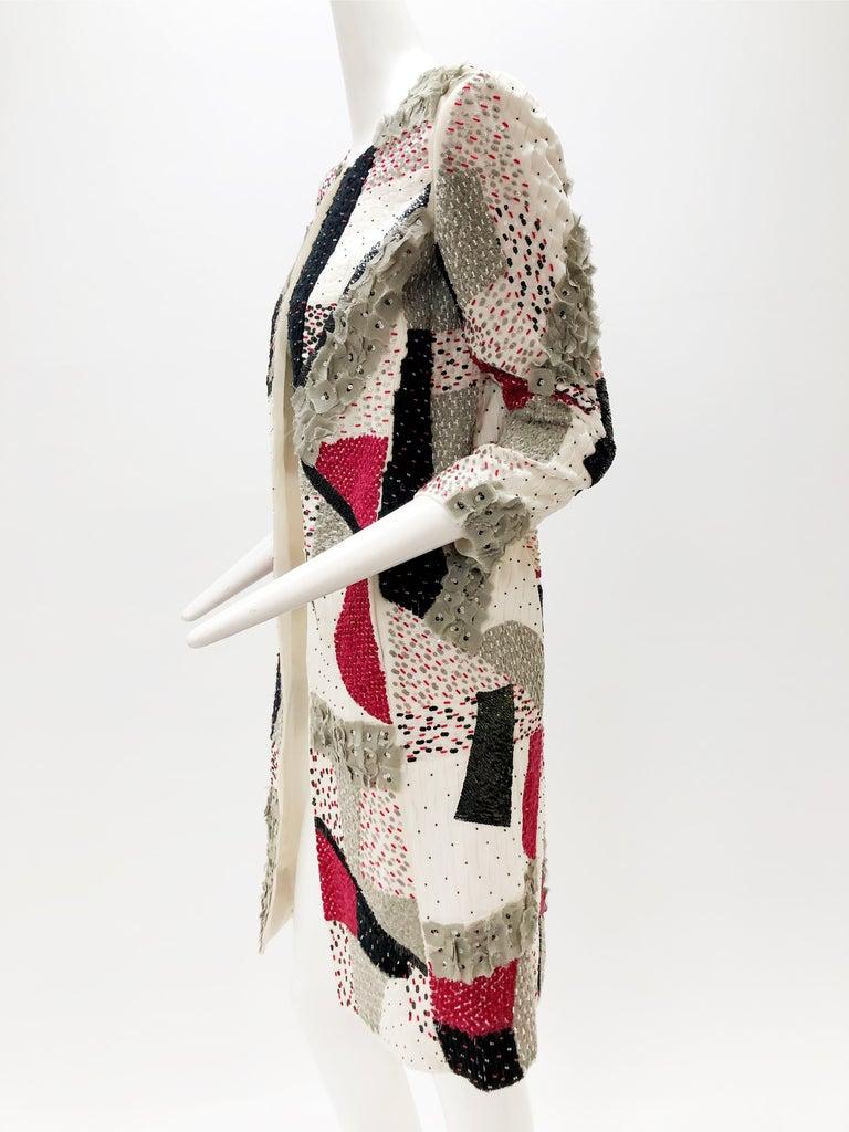 Beige Oscar De La Renta Beaded Red Black & Gray Patchwork Design Jacket w/ Sequins For Sale