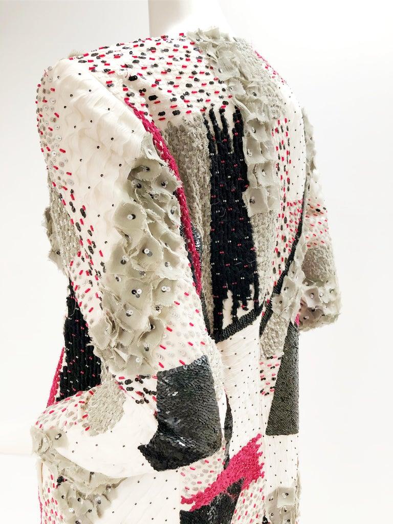Oscar De La Renta Beaded Red Black & Gray Patchwork Design Jacket w/ Sequins In Excellent Condition For Sale In San Francisco, CA
